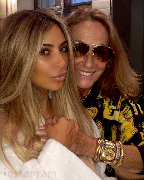 Blonde_Kim_Kardashian and Carlyne Cerf de Dudzeele