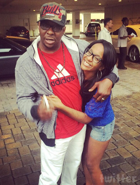 Bobbi Kristina hugs dad Bobby Brown