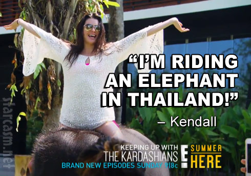 Kendall Jenner riding an elephant in Thailand KUWTK Season 9