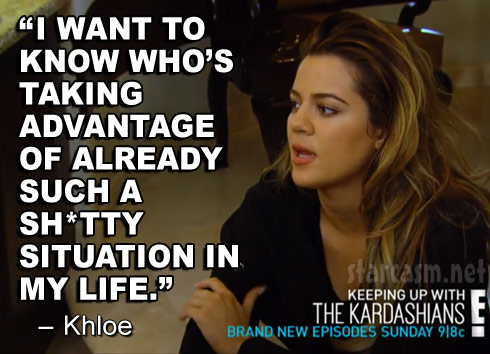 Khloe Kardashian KUWTK Season 9 quote about jewelry and money robbery