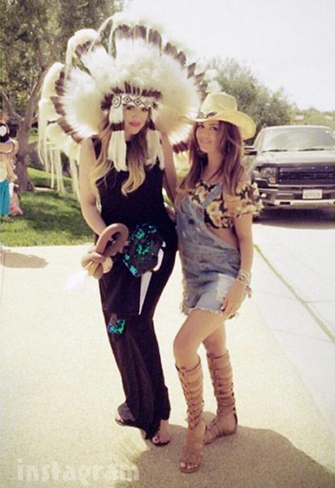 Khloe Kardashian Native American feather headdress
