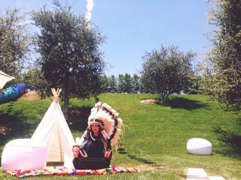 Khloe Kardashian Native American feather headdress tee-pee Kidchella