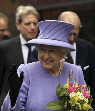 Queen Elizabeth II, the reigning monarch of England. Not the cruise ship named after her.