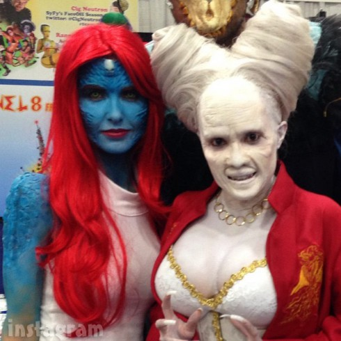 Audrina Patridge as Mystique at Comic-Con with Rannie Rodil as Lady Dracula