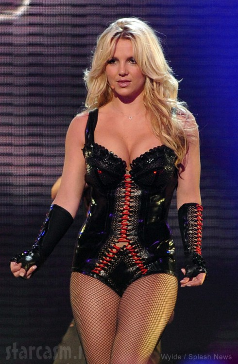 Britney Spears wearing lingerie on stage