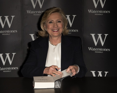 Hillary Clinton signing her newest book in London.