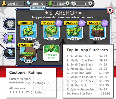 Kim Kardashian Hollywood in-app purchases ratings