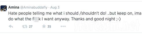 Amina Buddafly pregnany haters tweet