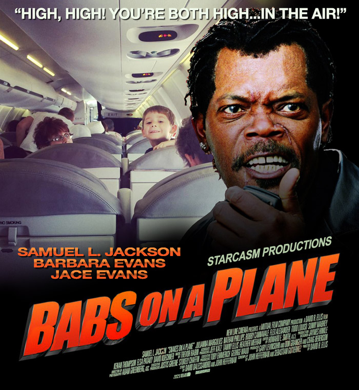 Snakes on a Plane parody poster Babs on a Plane with Barbara Evans