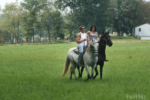 Teen Mom Jenelle Evans horseback riding with Nathan Griffith in Ohio