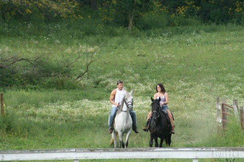 Jenelle Evans horseback riding with Nathan Griffith in Ohio