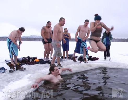 Slednecks icehole swimming
