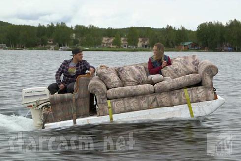 Slednecks pontoon couch boat - click to enlarge
