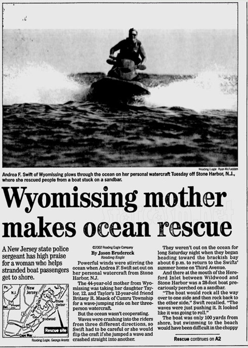 Taylor Swift's mom Andrea Swift jet ski rescue newspaper article Part 1 - click to enlarge