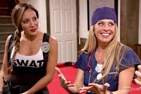 Melissa Gorga and Dina Manzo costumes at First Responders party RHONJ