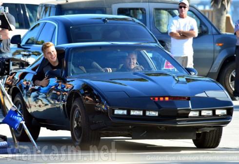 Justin Bieber and David Hasselhoff riding in KITT car from Knight Rider