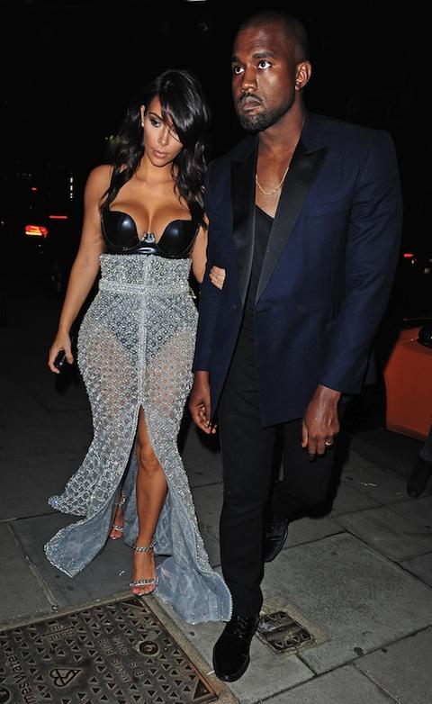Kim Kardashian and Kanye West at Hakkasan Restaurant