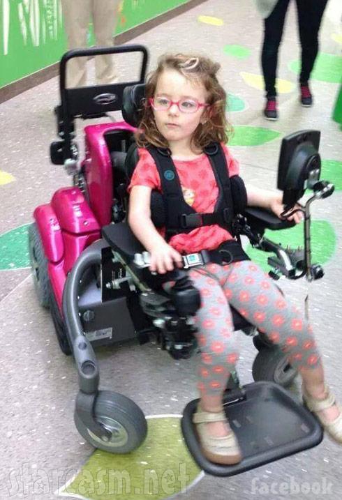 Leah Calvert's daughter Ali's new pink wheelchair
