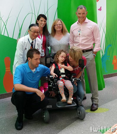 Leah Calvert's daughter Ali's new wheelchair group photo