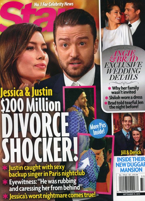 Justin Timberlake Jessica Biel divorce Star magazine cover  September 2014
