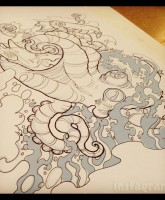 Tosca Yeager back tattoo line drawing