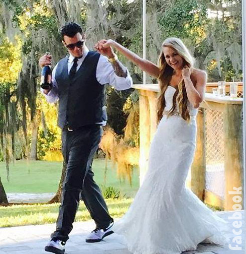 Epic Ink Caroline Russell wedding picture with husband Jeffrey Wortham