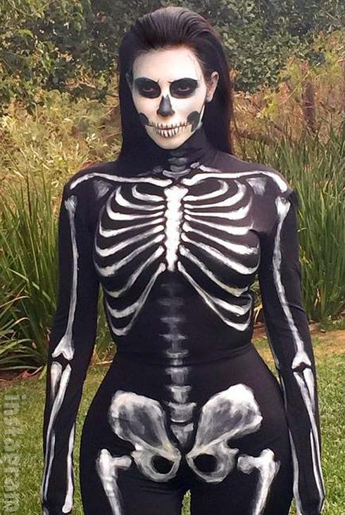 Kim Kardashian skeleton costume Halloween 2014