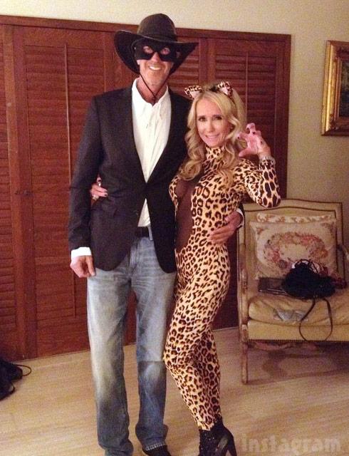Kim Richards as sexy leopard and Monty Brinson as Zorro Halloween 2014