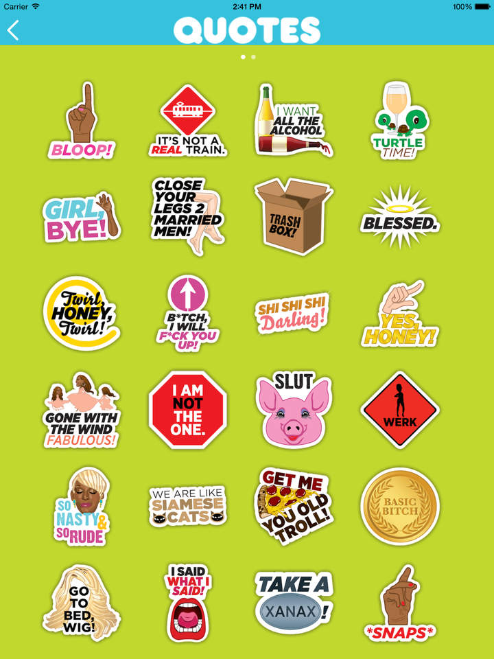 Real Housewives emoji app stickers quotes