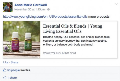 Anna Cardwell Young Living Oils Facebook