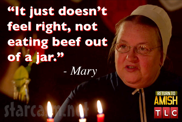 Breaking Amish Mama Mary Schmucker quote beef out of a jar