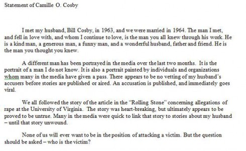 Camille Cosby on Bill Cosby Rape Allegations