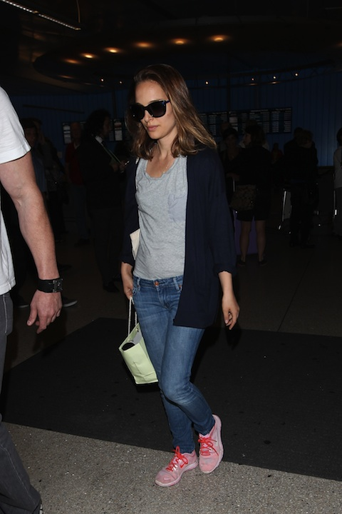 Natalie Portman And Family At LAX