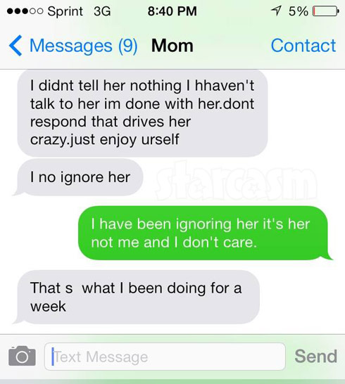 Jenelle Evans sister Ashleigh and mom Babs text messages