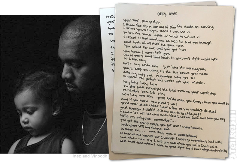 Kanye West Only One North West song lyrics