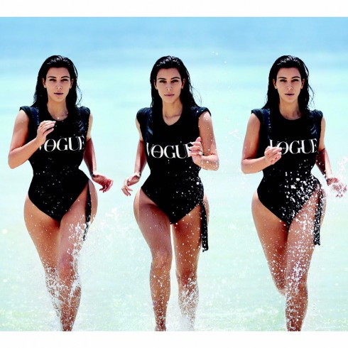 Kim Kardashian running beach