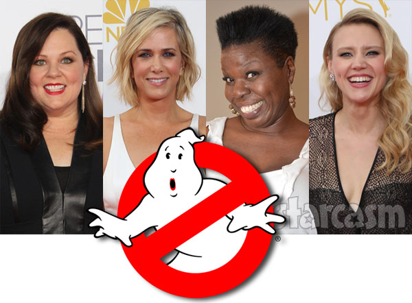 New all-female Ghostbusters cast is Melissa McCarthy Kristen Wiig Leslie Jones and Kate McKinnon