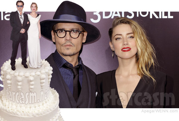 Johnny Depp Amber Heard wedding photo cake topper
