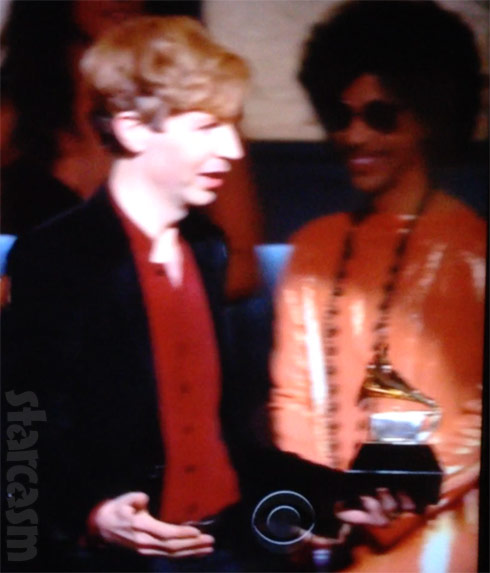 Prince laughing 2015 Grammys Beck and Kanye West