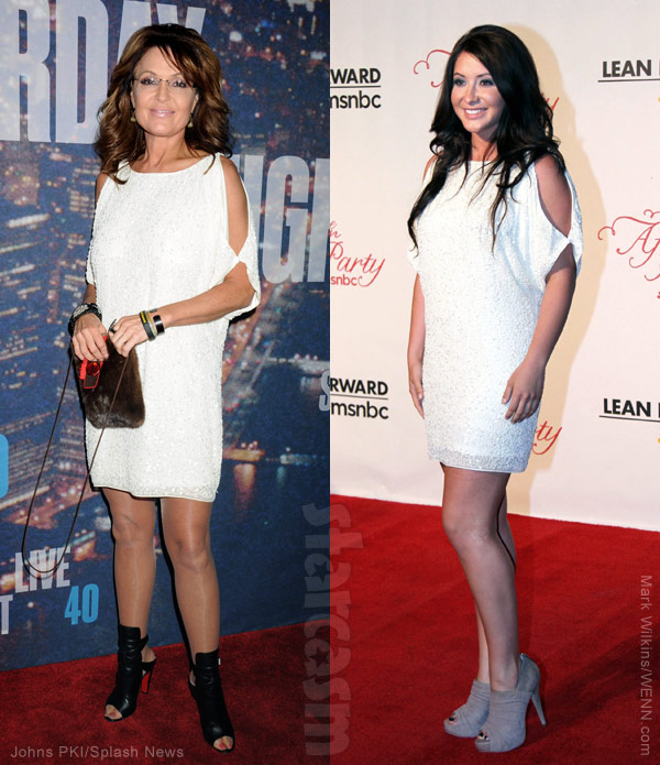 Sarah Palin and daughter Bristol Palin wearing the same dress