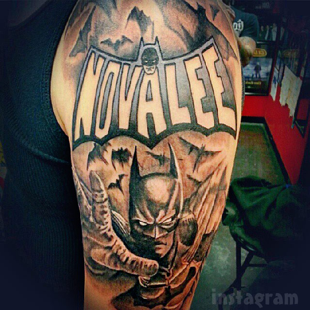 Tyler Baltierra Batman sleeve tattoo