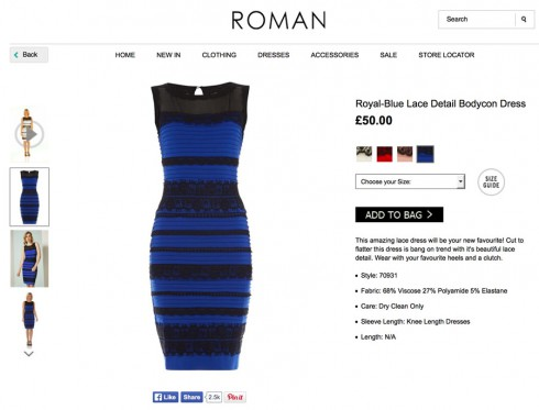 Where can I buy the dress that is both blue and black and white and gold?