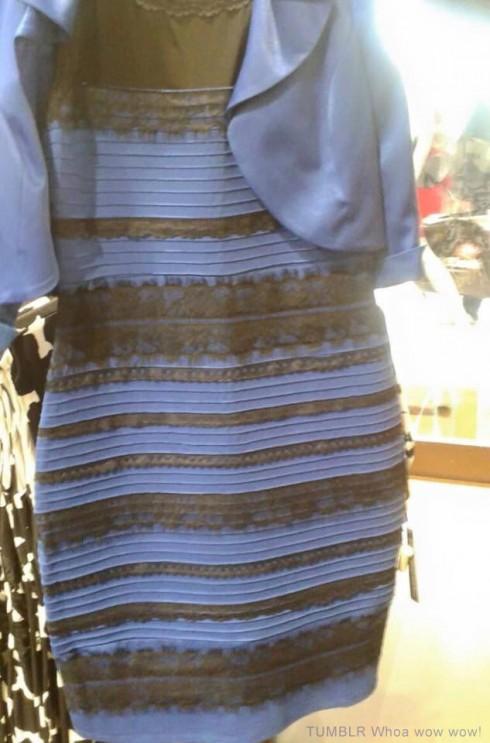gold and white black and blue dress original