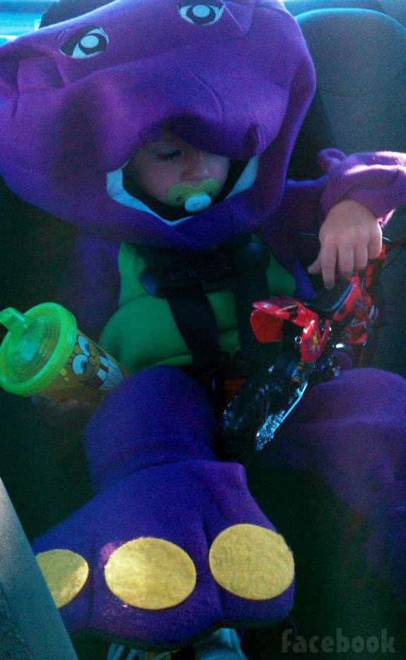 Teen Mom Maci Bookout's son Bentley Edwards in a Barney costume