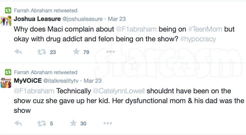 Farrah Abraham Maci and Catelynn retweets