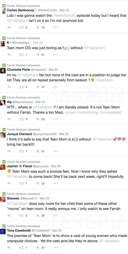 Farrah Abraham Teen Mom OG Premiere retweets