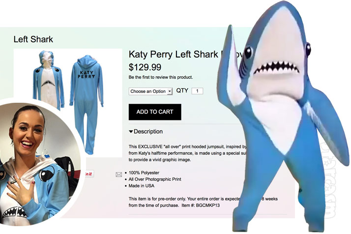 Official Left Shark onesie from Katy Perry