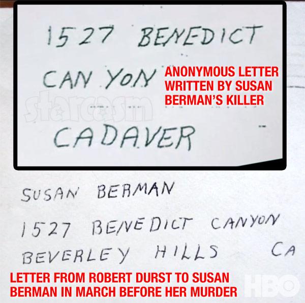 Robert Durst letter to Susan Berman handwriting match