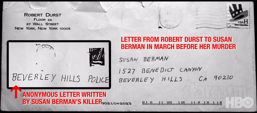 Robert Durst letter to Susan Berman handwriting