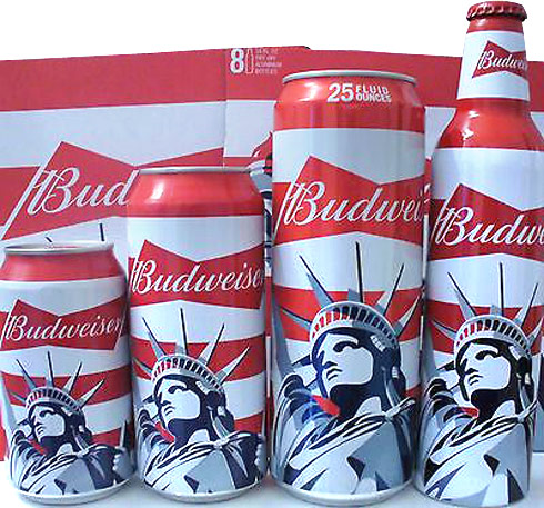 Budweiser Statue of Liberty bottle cans